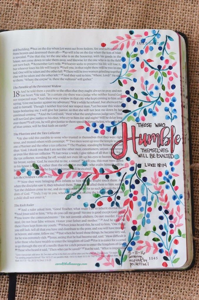 Luke 18:14, May 11, 2016, carol@belleauway.com, watercolor, Illustrated Faith pen, bible art journaling, bible journaling, illustrated faith
