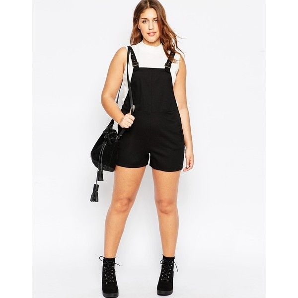 ASOS CURVE Dungaree Playsuit In Twill ($34) ❤ liked on Polyvore featuring jumpsuits, rompers, bib overalls, plus size womens bib overalls, white bib overalls, plus size overalls and tall romper