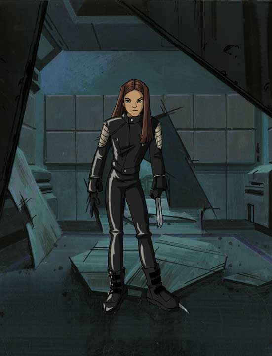 """X-23 """"X-Men: Evolution"""" This was the first appearance of X-23. Once she aired on the TV show, it was decided to move her to comics, so in 2003, X-23 officially joined the Marvel comic book Universe, appearing first in the series NYX. She has since joined the X-Men, had three mini series, the last of which just ended, and she has now joined Avengers Academy."""