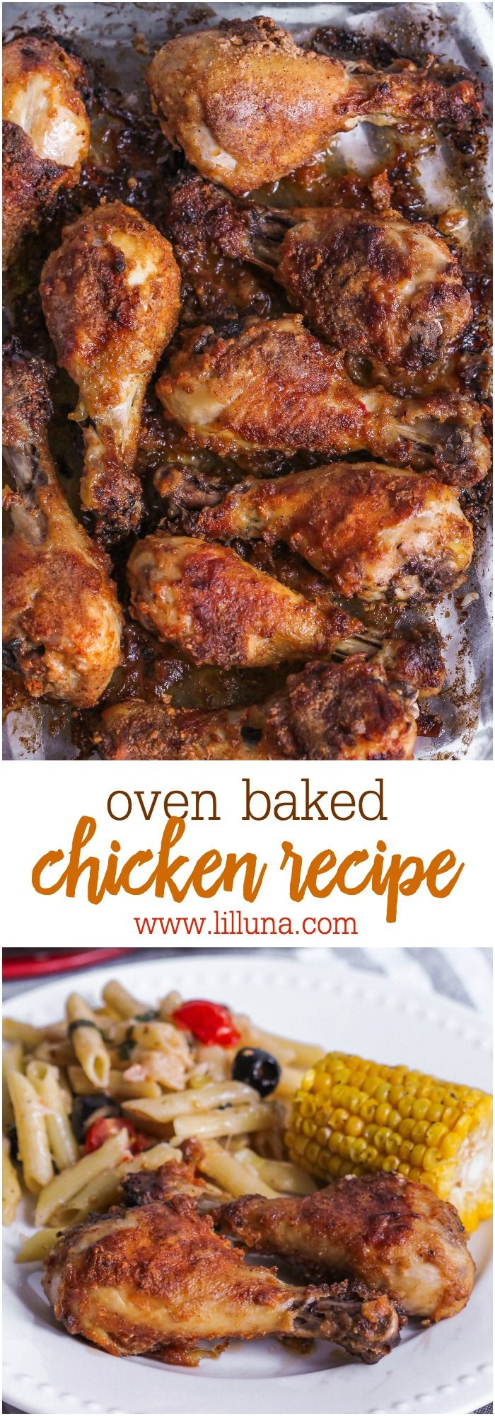 Oven Baked Chicken - one of the easiest, yummiest chicken recipes you'll try! It's a new favorite dinner idea.