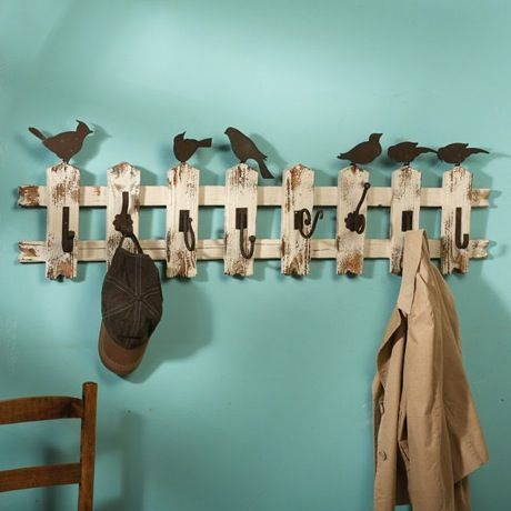 Birds On A Picket Fence Coat Rack - cute for a mud room
