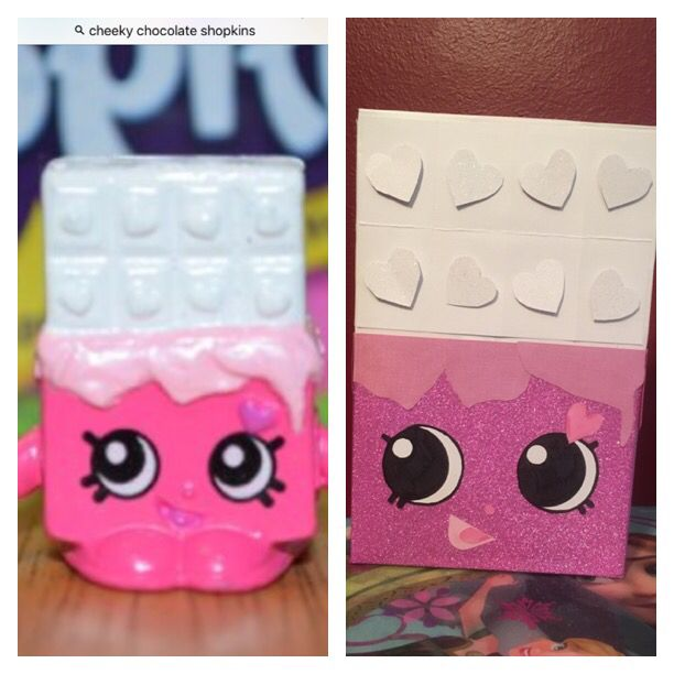 Shopkin on the left and our creation on the right. We had fun turning a cereal box into the Shopkin that Bella chose for her Valentine box to resemble. Glad she chose Cheeky Chocolate. It was fun, and perfect for Valentine's Day! Tip: We used spray on adhesive instead of glue. It held wonderful and was faster to apply. #valentinebox #schoolproject #whitechocolate