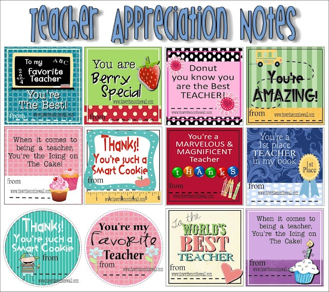 Teacher appreciation printables and ideas include notes ...