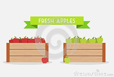 Red and green apples in the wooden box