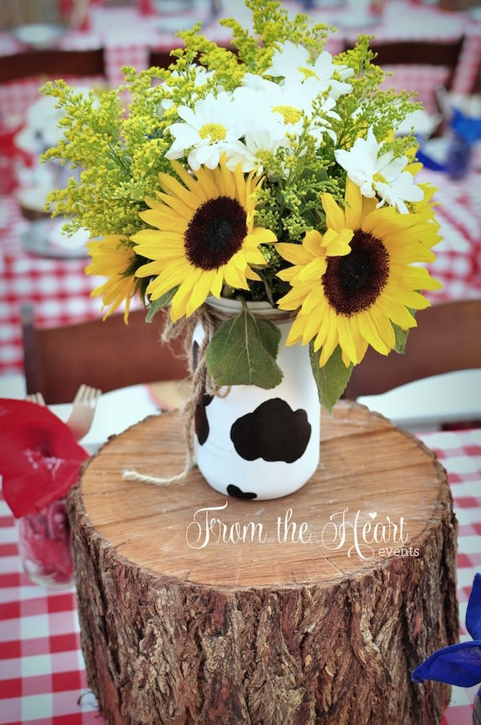 Country flowers from Wild West Cowboy Party at Kara's Party Ideas. See more at karaspartyideas.com!