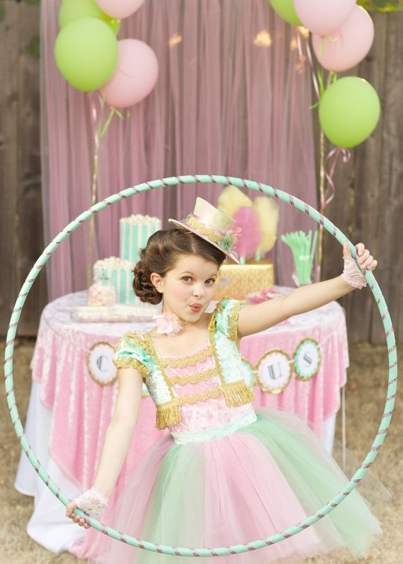 Circus Tutu Dress Ring Mistress Costume in Mint Green, Pale Pink and Gold