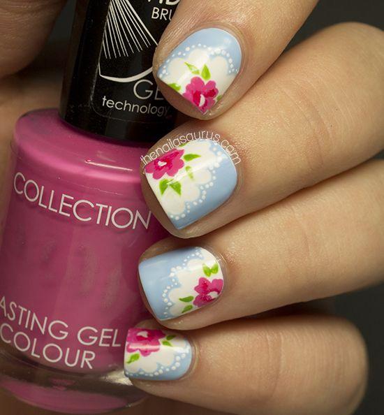 Cath Kidston Provence Rose Nail Art #cathkidston #nails #flowers #pretty #vintage