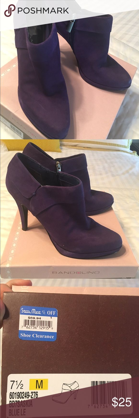 Purple ankle booties Purple suede booties! YES! Great for anything...never worn. Bandolino Shoes Ankle Boots & Booties