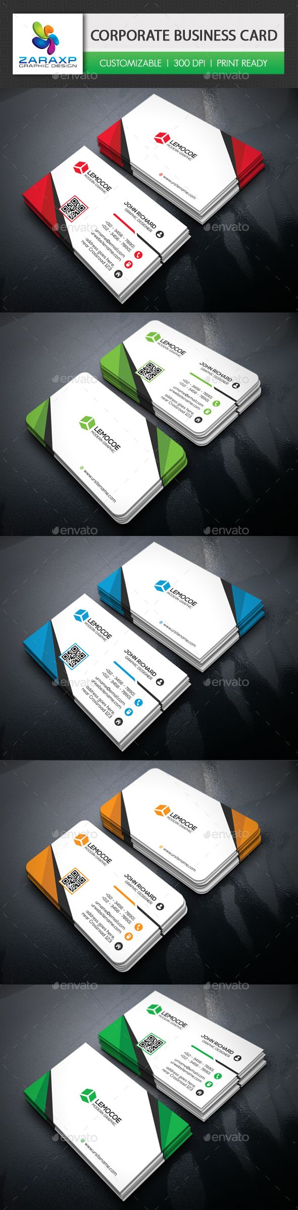 Corporate Business Card Template PSD #design Download: http://graphicriver.net/item/corporate-business-card/14211343?ref=ksioks