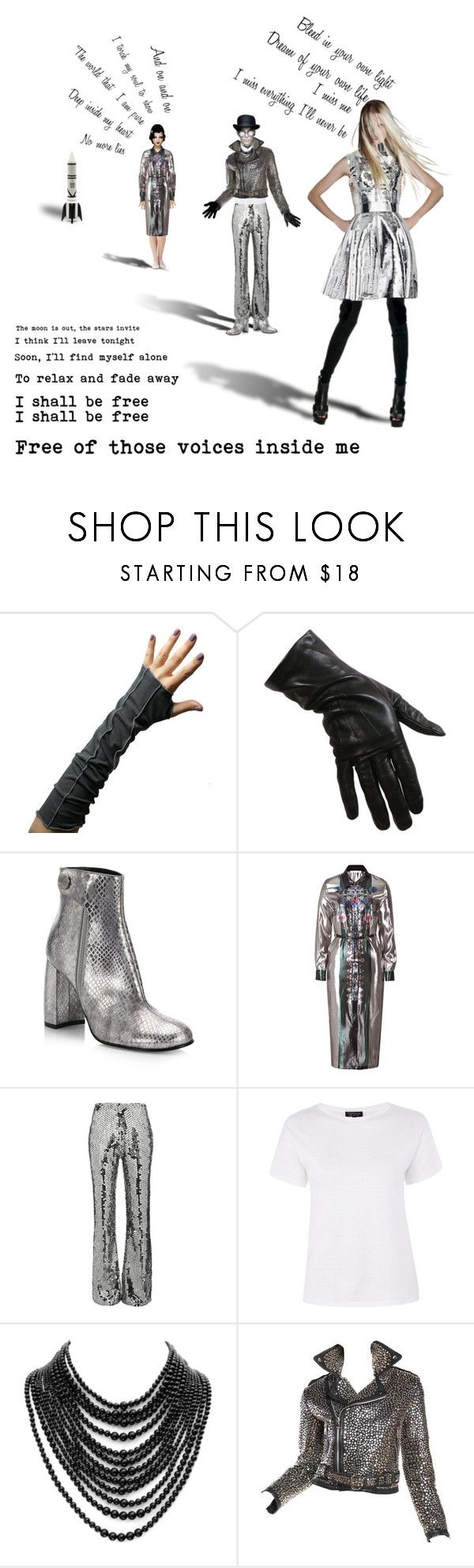 """Rocket"" by leocremonini ❤ liked on Polyvore featuring STELLA McCARTNEY, Mary Katrantzou, Filles à papa, Topshop, Tom Binns, Gareth Pugh, Seletti, doll, metallic and space"