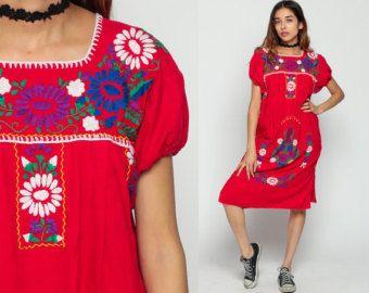 MEXICANO bordado a vestido Midi PUFF MANGA algodón Boho túnica