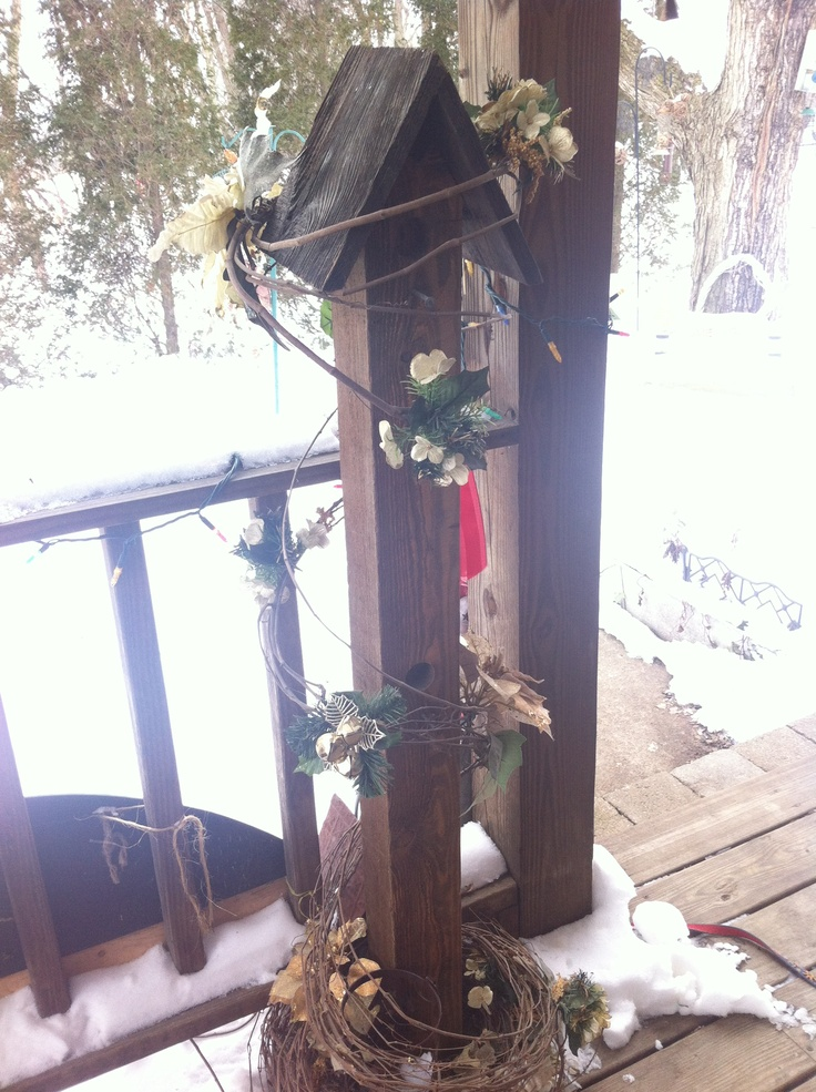 Decorative birdhouse made from a 4x4 post about 4 39 tall for Decoration 4x4