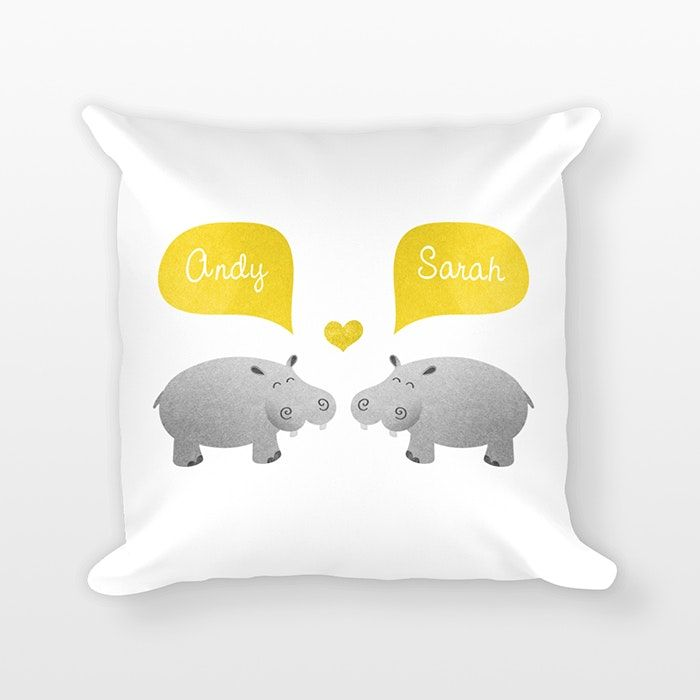 """Hippo Personalized Couple Pillow by Happy Cat Prints Personalized with your names!Provide names at checkout, in the """"note"""" box (see pic 4).You can also provide a date (see pic 2).A DIGITAL PROOF will be emailed to youin 1-2 business days.For you to review before production.PRODUCTION TIME&SHIPPING: see About page> A Happy Cat Prints exclusive design> Printed on BOTH sides> Color for name bubbles & heart: you choose! (see pic 3)> Animals will be printed in gray textures as shown> Size: 18 x…"""