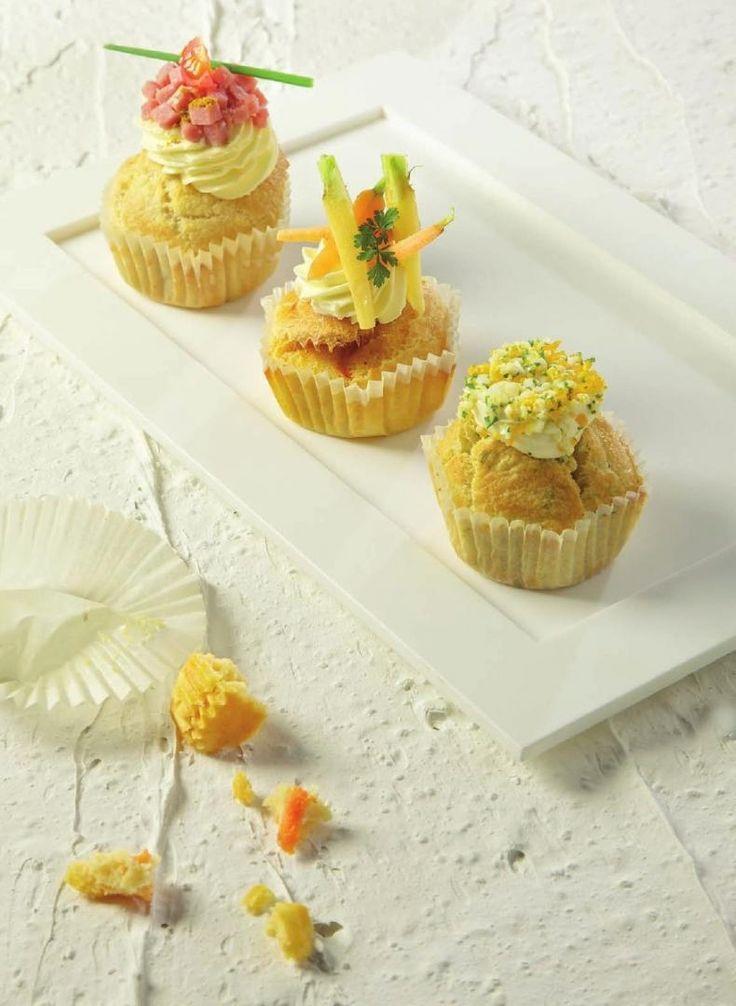 Hartige cupcakes http://www.njam.tv/recepten/ham-kaas-cupcakes