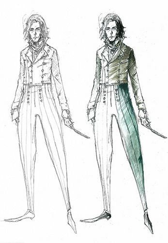 Sweeney Todd Costume Sketch. Colleen Atwood, designer (found here)