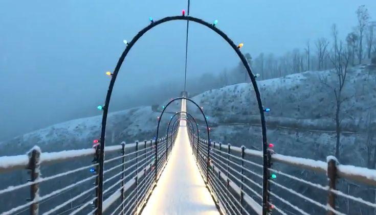 Gatlinburg Skybridge in Lights & Snow | Gatlinburg, Christmas lights, Lights