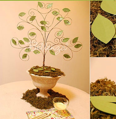 DIY wedding wish tree - wire branches, leaf cutout 'wish cards'