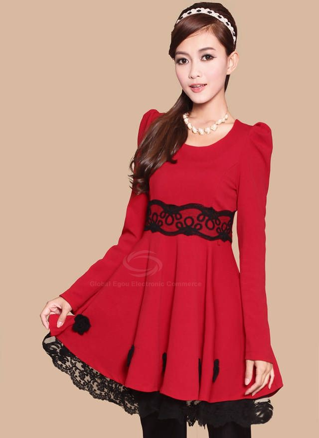 Elegant Scoop Neck Long Sleeves Lace Splicing Roses Decoration Cotton Blend Dress For Women (RED)
