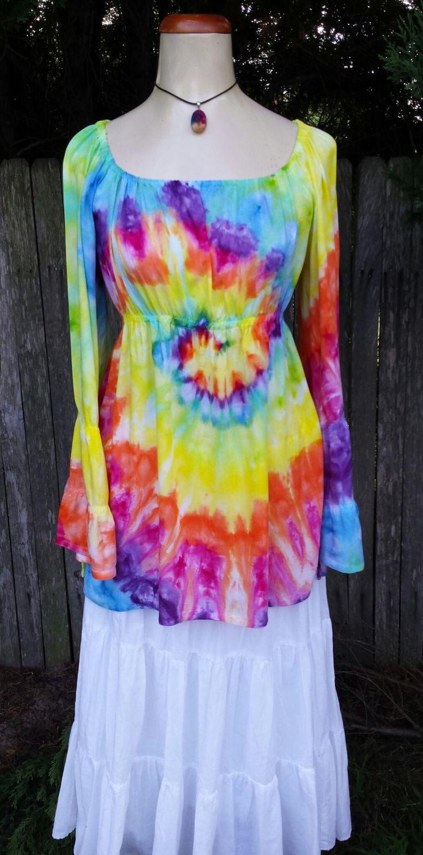 Rainbow tie dye peasant gypsy boho hippie top - Size Small by DyingDazeTieDye on Etsy