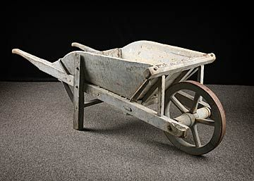 French Antique Wooden Wheelbarrow