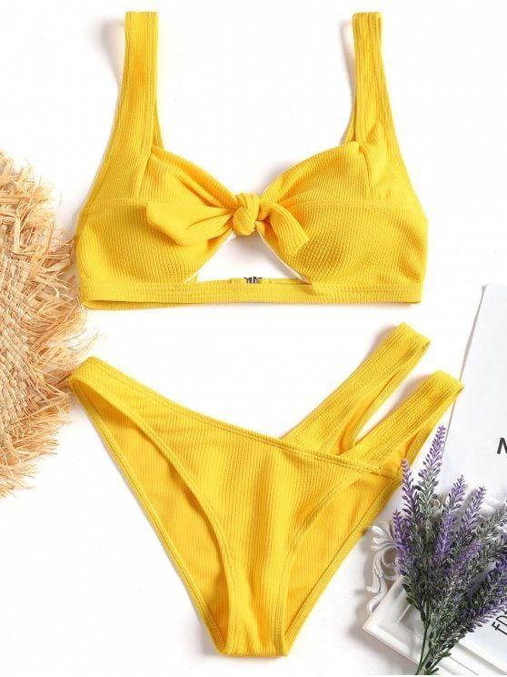 4efa13ebe1 Up to 80% OFF! Knotted Cut Out Bikini Set.  Zaful  Swimwear  Bikinis ...