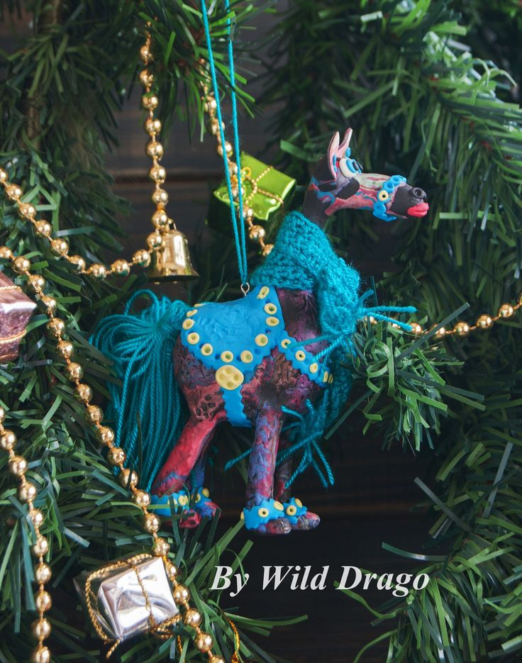 Daniel horse, toys for Christmas tree made of polymer clay with elements crocheted by WildDragoCraft on Etsy