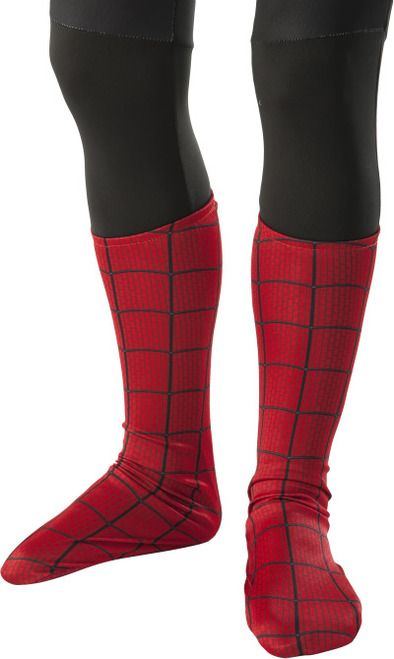 The Amazing Spiderman Child Boot Tops - Kick some bad guys to the curb this Halloween and complete your child's Spider-Man costume with these children's sized boot covers from Marvel Comics.  These spider-Man child boot tops are a soft lightweight material with Amazing Spider-Man print all over. The bottom of the boot tops have grips on the soles and are 18cm long, heel to toe.  #spiderman #kids #yyc #costume