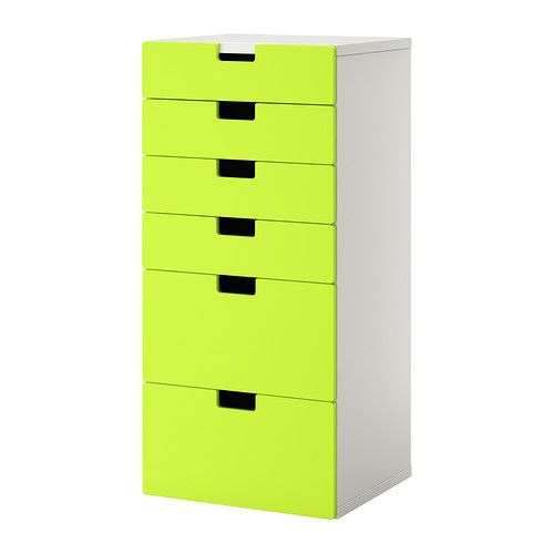 IKEA - STUVA, Storage combination with drawers, white/green, , Low storage makes it easier for children to reach and organize their things.Stands evenly on an uneven floor; adjustable feet included.The drawer fronts have rounded corners and a cut-out handle with smooth edges.