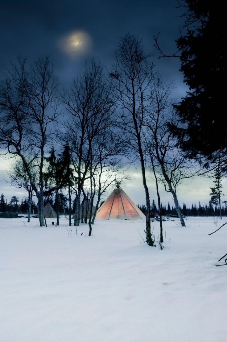 Get cosy under the stars in a traditional Sami tent (lavvu) in Sweden.