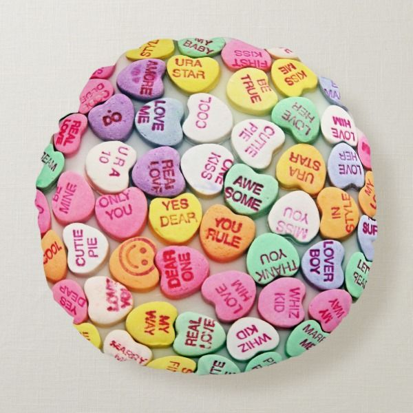 Candy Hearts Round Pillow Ad Affiliatelink Valentine Valentinesday Pillows Homedecor Hearts Heart Candy Round Pillow Valentine Day Love
