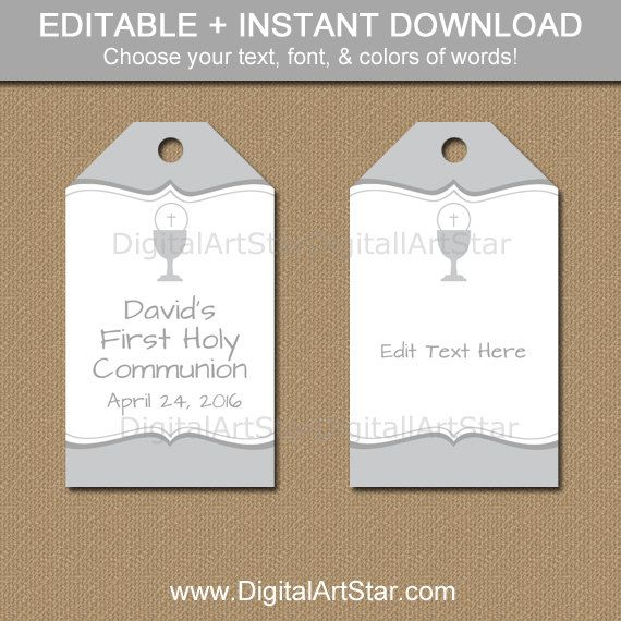 First Communion Party Favor Tags Printable in Silver and White
