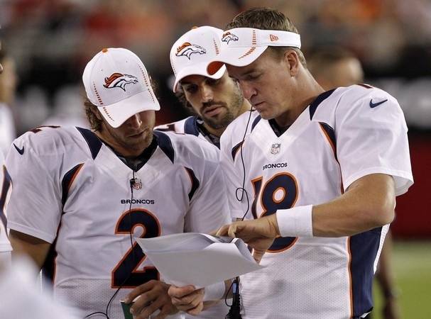 Denver Broncos quarterback Peyton Manning (18) goes over plays with teammates Adam Weber (2) and Brock Osweiler during the first half of an NFL preseason football game, Thursday, Aug. 30, 2012, in Glendale, Ariz. (AP Photo/Ross D. Franklin)