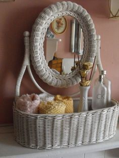 White Wicker Vanity Dresser top Mirror by GracieLynnBoutique