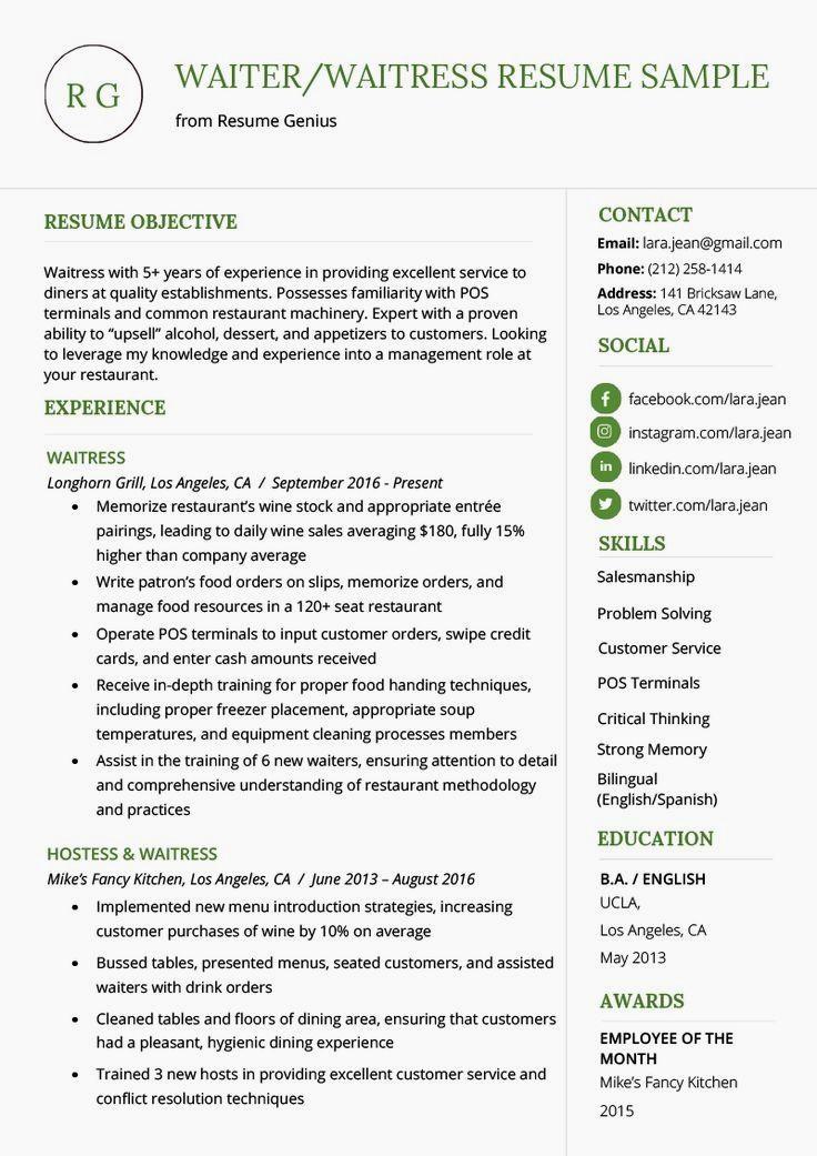 Waiter waitress resume example writing tips resume