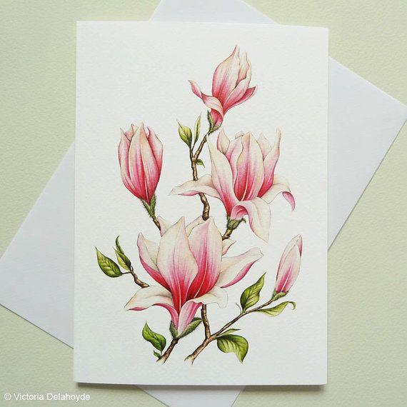 Ähnliche Artikel wie Rosa Magnolia Gemälde große Luxus-Grußkarte auf Etsy