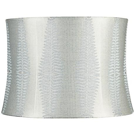 Bring an organic look into your home with this drum shade with fern pattern in a