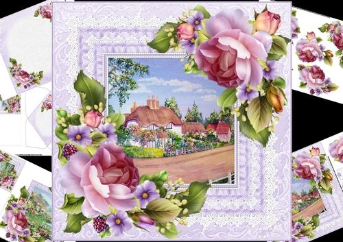 8x8 spring roses with choice of 2 cottage scenes mini kit 2 by Carol Smith a 5 sheet mini kit for the ladies which has a choice of two scenes so that means you can make up two different cards complete with two matching mini gift cards. Has a watercolour scene framed in a ruffle and lace frame and decorated with beautiful spring rosesco-ordinating tags for the placement of your choice say happy bir