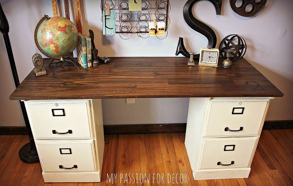 pottery barn inspired desk using goodwill filing cabinets, chalk paint, home decor, kitchen cabinets, painted furniture, repurposing upcycling.  Planning on doing this with my work bench in the garage. Multiple three tier file cabinets with hardwood top.
