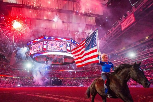 Fireworks fill the stadium during the performance of the national anthem on the rodeo's last day on March 18.   Photo by Smiley N. Pool / Houston Chronicle