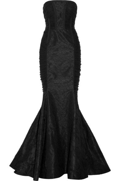 Black lace and silk-chiffon  Concealed hook and zip fastening at back Fabric1: 87% nylon, 13% polyurethane; fabric2: 100% silk; lining: 100% silk Dry clean