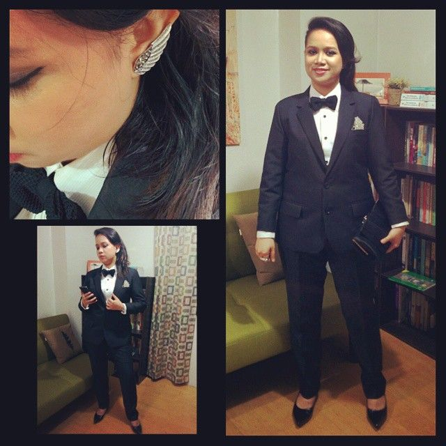 WEBSTA @vanishiwa Company Christmas Party @ Heritage Hotel. Theme: Oscar's. First time to wear tux. Look inspired by @ellenpage. Hehe. accessories: mockingjay earrings, 2-finger knuckle studded ring, peeking swan brooch (for tux pocket handkerchief), french connection watch. Thabks to my bro @karlibradshaw for being my stylist for the outfit hehe