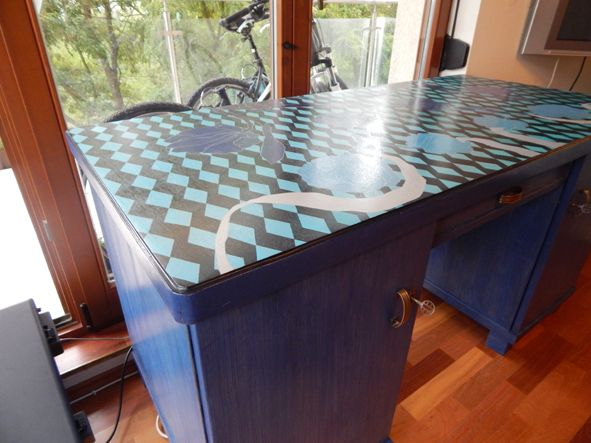art deco table with my painting -in blue