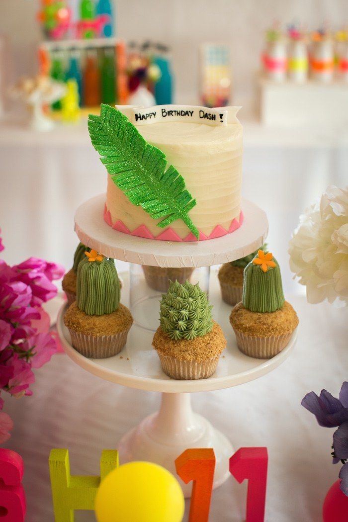 Cute boho cake! Neon Pow Wow Birthday Party via Kara's Party Ideas KarasPartyIdeas.com | The Place for ALL THINGS PARTY!