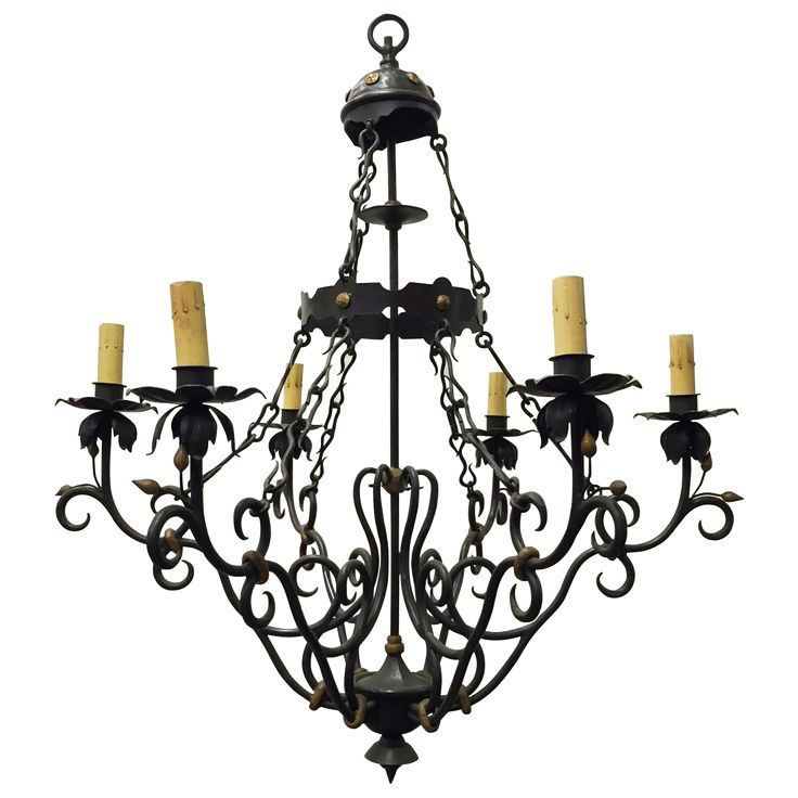 TRADITIONAL Spanish Baroque Style Iron Chandelier