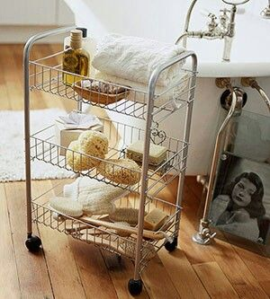 Bathroom Storage A metal cart on wheels keeps bathtime essentials within reach. Store towels and  sc 1 st  My Web Value | Decoration ideas blog. & bathroom caddy on wheels | My Web Value