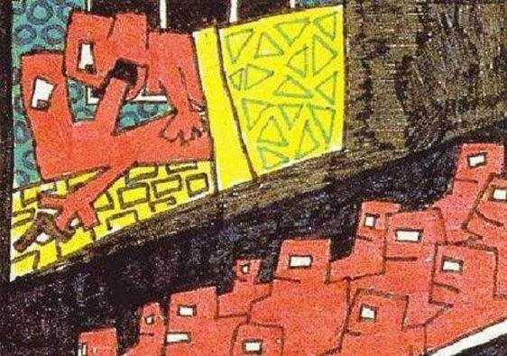 сюжет с изображением влюбленной пары на фоне ночного города: мужчина смотрит на звезду, а женщина – на его мужское достоинство. Виктор Цой
