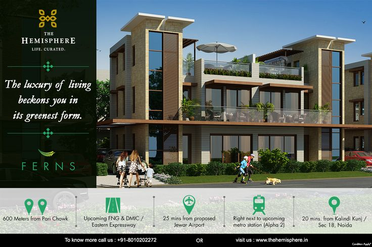 #TheHemisphere #Ferns #GreaterNoida #Luxury #Villa next to upcoming #MetroStation #Alpha2Metro 25 Min. from proposed #Airport #Jewar 600 meters from #PariChowk To know more call: +91-8010202272 OR Visit: https://goo.gl/OsNptv