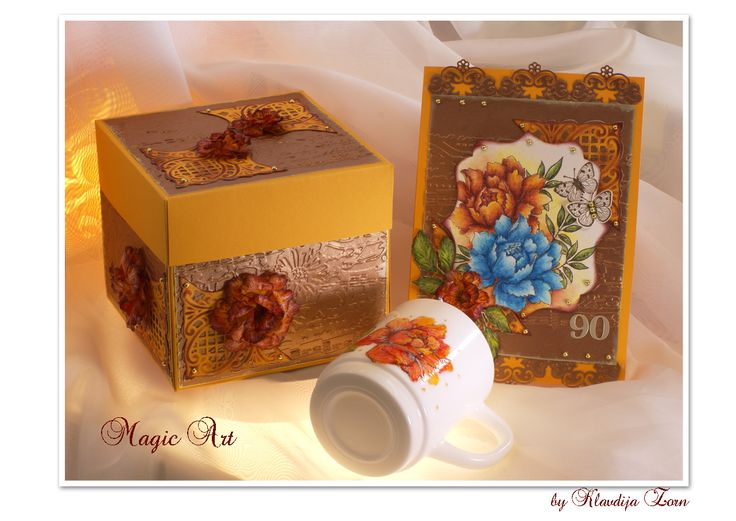 Handmade gift for 90 th birthday. A cap painted with colors for porcelain, box for cap and birthday's card.