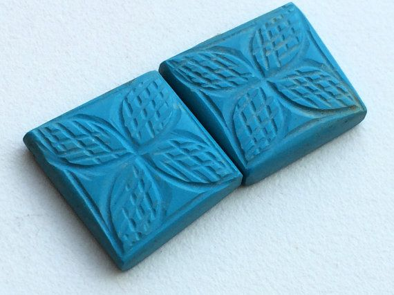 Turquoise Hand Carving Matched Pairs Turquoise by gemsforjewels