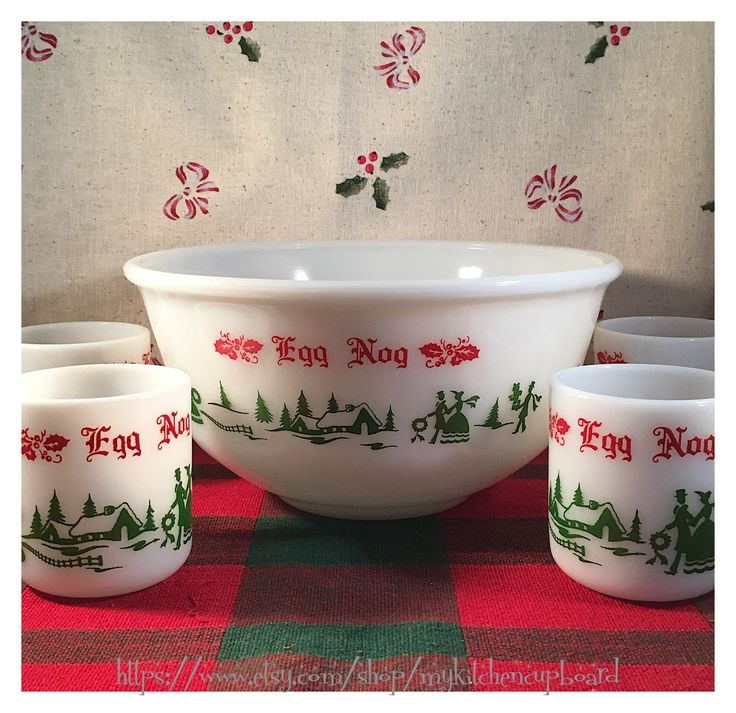 Xmas punch bowl set; Hazel-Atlas; milk glass punch bowl and four cups; egg nog serving bowl; Christmas scene in red and green by MyKitchenCupboard on Etsy